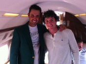 Rory's twittered picture from his Monday flight to Malaysia with Masters champion Charl Schwartzel.