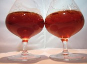 The beers look very similiar in the glass. Ticket to Rye (left) is marginally darker.