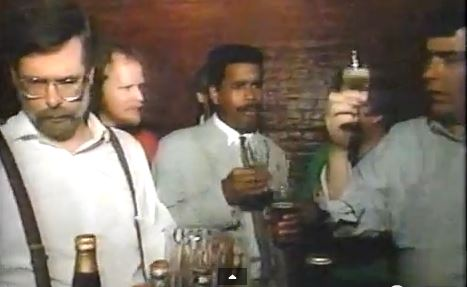 The New York City Hombrewers Guild in action on a 1989 MTV show. The fuzzy screenshot above shows Peter LaFrance on the left, me in the red shirt keeping an eye on two-fisted drinker Garrett Oliver. Can't remember who the guy on the right is!