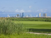 View of Atlantic City from the second green of the Bay Course