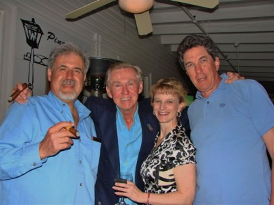 Eddie McKenzie (center) with Janeen Driscoll, now the USGA director of public relations, and MOTO members Jerry Carbone and David Cotton at the Magnolia Inn in Pinehurst
