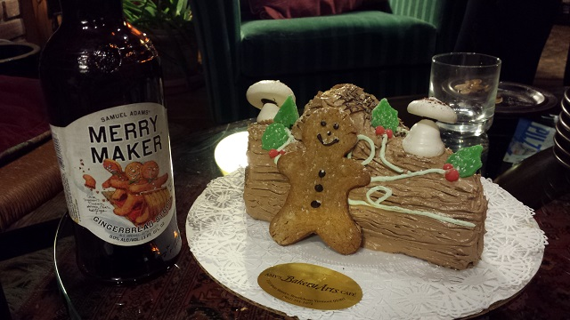 A chocolate yule log with gingerbread man. Had to be done.