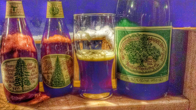 A stylized shot of the '88 bottle (left), the 2014 bottle and beer, and the 1996 magnum