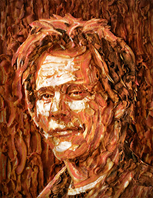 A portrait of Kevin Bacon done in bacon, by Jason Mecier