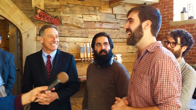 Vermont Governor Peter Shumlin (left) with Hermit Thrush Brewery owners Avery Schwenk (center) and Christopher Gagné