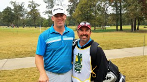PGA Tour player Justin Hicks (left) with former caddie Jeff Willett
