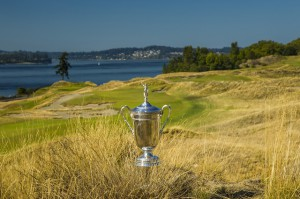 The U.S. Open Trophy at Chambers Bay (Copyright USGA/John Mummert)