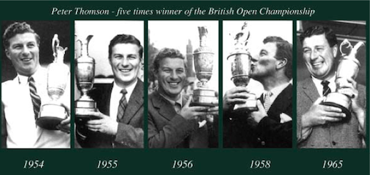 Peter Thomson hoisting the Claret Jug five times (Thomson Perrett)