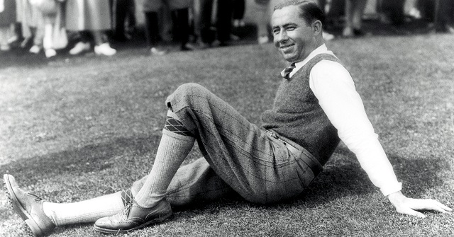 Walter Hagen resting his barking dogs. (PGA of America)