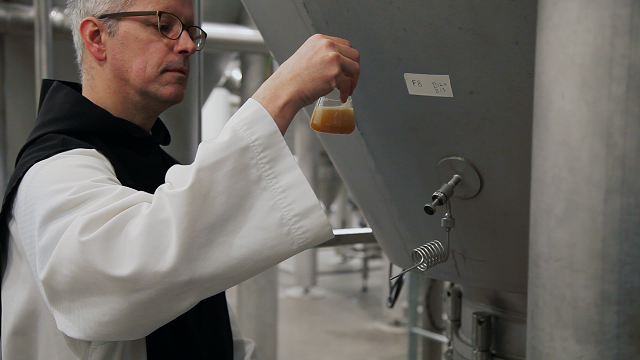 A monk at work at the Spencer Trappist Brewery