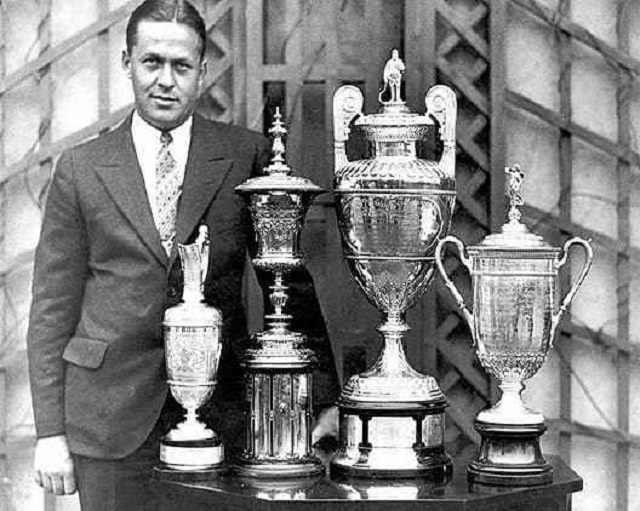Bobby Jones and his four trophies of the Impregnable Quadrilateral.