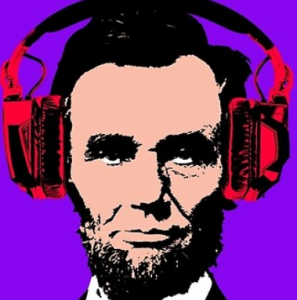 Lincoln with headphones