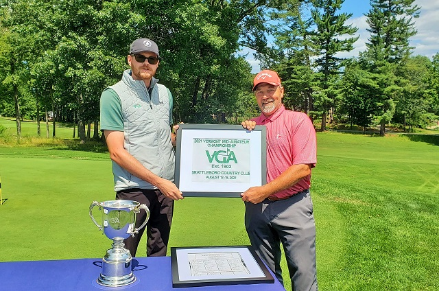 Brattleboro Country Club professional Mike Zaranak (right) with VGA tournament director Kyle Jacobs