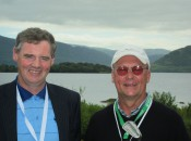 Pat Sweeney, left, manager of Enniscrone Golf Club, reunites the author with his gap wedge at the Irish Open