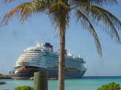 Disney Fantasy docked at Castaway Cay, Disney's private Caribbean island.