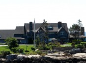 The Bush family seaside home on Walker's Point is visible in quaint Kennebunkport, Maine.