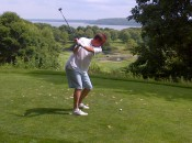CBS sportscaster Jim Nantz plays the 18th hole on The Jewel Course on Mackinac Island in July