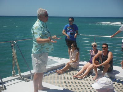 Griffin enjoys riding along onboard with international tourists to point out the sights and spin his adventurous yarns.