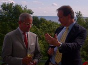 "Grand Hotel president Dan Musser tastes ""The Calling"" on the porch with traveling CBS sportscaster Jim Nantz"