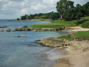One of the Teeth of the Dog's smashingly scenic par-3 holes.