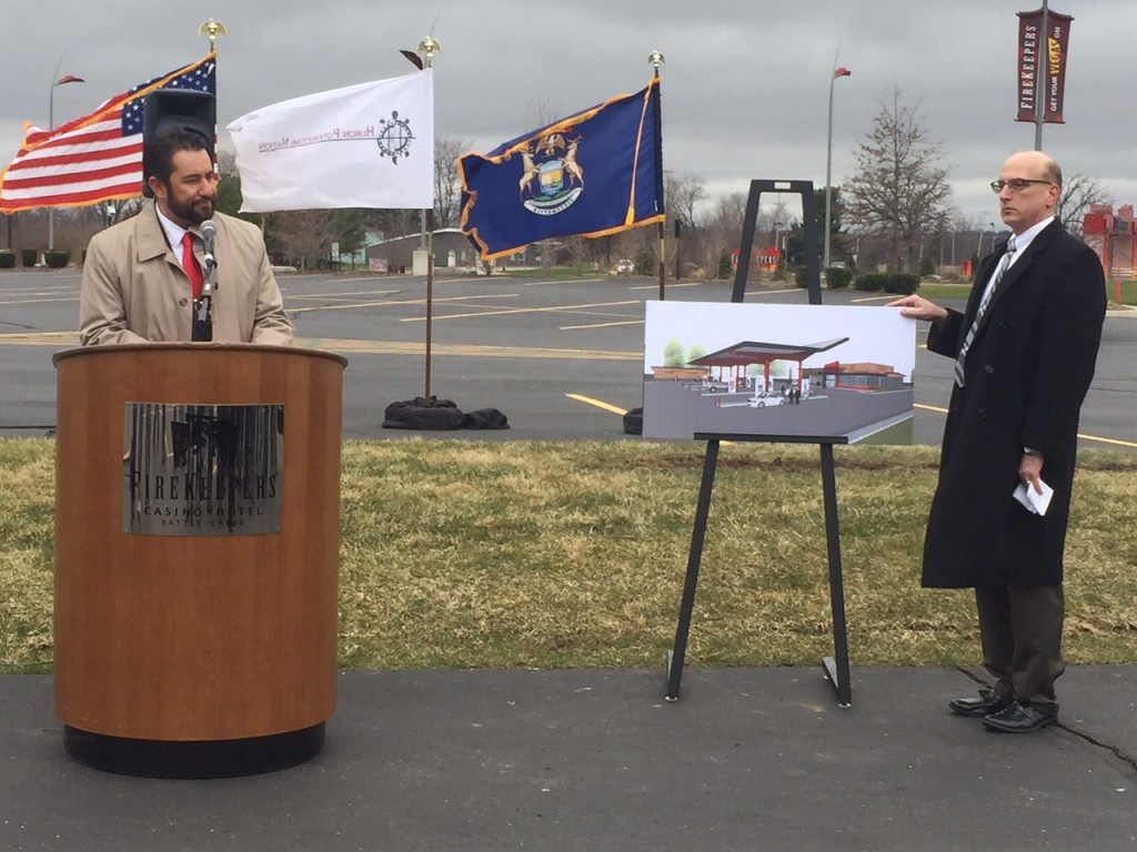 CEO Brian Decorah and Marketing VP Jim Wise announce the groundbreaking of the innovative FireKeepers Pit Stop