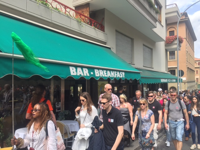 PHOTO ATTACHED: Large groups waiting in long lines outside Ristorante Paolo on their way into the Vatican.