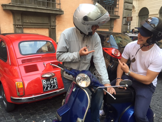 The traditional Italian Vespa can zip through traffic for more time spent touring