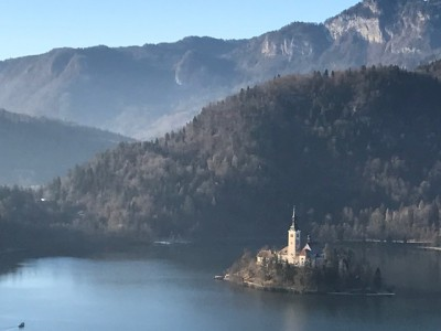Slovenia's Lake Bled as seen from Bled Castle, where Donald and Melania visited (photo by Michael Patrick Shiels)