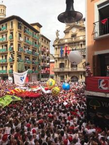 Plaza del Ayuntamiento during the opening ceremonies of Fiesta San Fermin