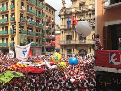 Plaza del Ayuntamiento during the opening ceremonies of Fiesta San Fermin