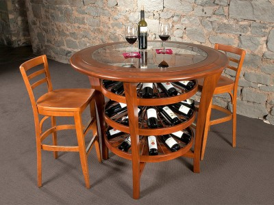"Revel patented ""Lazy Susan"" innovation in their wine tables or cellar corners can help the ambiance of a wine-drinking occasion."