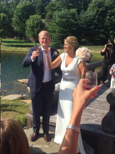 Ship captain Chris Shepler and his fiancee Mikie Tracey were wedded on dry land in Northern Michigan.