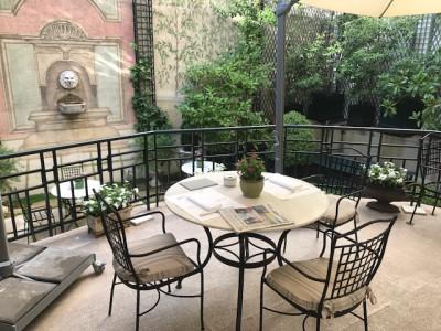Hotel Orfila's open air garden terrace