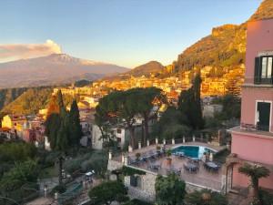 Belmond Grand Timeo's balcony view of Taormina. (Photo by Michael Patrick Shiels)