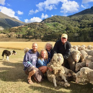 Matt Wilson, Kate, Caryn and Matt Rhodes visit a New Zealand sheep farm. (Photo by Matt Rhodes)