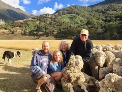 Matt Wilson, Kate, Caryn and Matt Rhodes visit a New Zealand sheep farm. (Photo by Matt Rhodes)