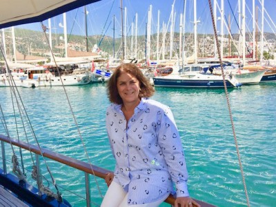 Karen Federko Sefer, born in Lansing, Michigan, on the Turkish Riviera. (Photo courtesy of Sea Song Tours)