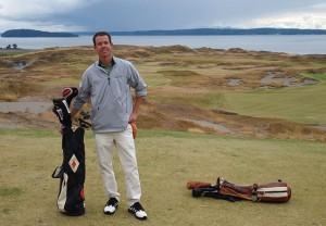Poster artist Lee Wybranski at Chambers Bay