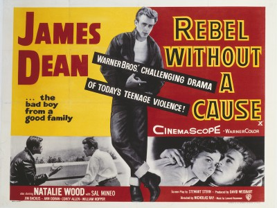 A poster for Nicholas Ray's 1955 drama 'Rebel Without a Cause' starring James Dean. (Photo by Movie Poster Image Art/Getty Images)