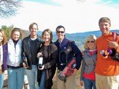 PGA Tour Member (L to R) Brett Quigley, Charles Warren, and US Open Champ Lucas Glover and their wives join vintner, Susan Curtis (holding the bottle) at the Jocelyn Lonen Winery in Napa's Atlas Peak Appelation.