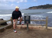 Michael P. Shiels enjoying the view of the iconic 18th hole at Pebble Beach (Photo by Harrison Shiels)