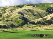 The hilly terrain of Rustic Canyon comes quietly into play on many holes.