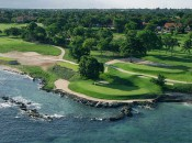 The fifth hole at Teeth of the Dog, one of the great par 3's that Pete Dye sited along the Dominican coastline.