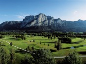 Golfclub Am Mondsee in Mondsee, Austria, just outside of Salzburg. If the scenery seems familiar, it probably is -- the course is about five minutes from the lake and house where the Sound of Music was filmed.