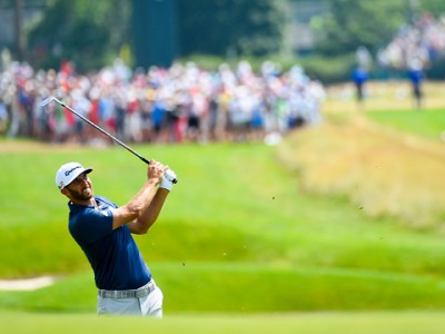 Dustin Johnson hits his second shot on the third hole during the final round of the 2016 U.S. Open at Oakmont Country Club in Oakmont, Pa. on Sunday, June 19, 2016. (Copyright USGA/JD Cuban)