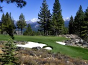 The 17th, a dramatic Martis Camp par three set on a rock outcrop.
