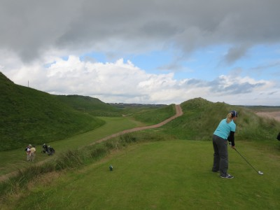 Even from Cruden Bay's forward tees, the blind shot at the par-three 16th requires trust and a confident swing.