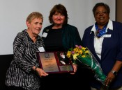 Shirley Spork receives MWGA Lifetime Achievement Award from Susan Bairley and Francine Pegues