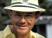 "Shown here in his trademark ""bucket"" hat, Davis Love, Jr. could explain the golf swing in many different ways."