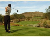 Choose one side of the tee area and pick the proper side of the fairway to drive toward